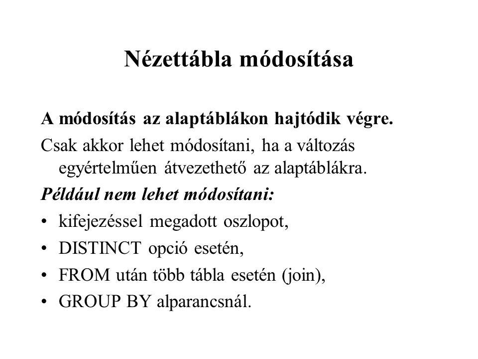 Nézettábla módosítása A módosítás az alaptáblákon hajtódik végre.