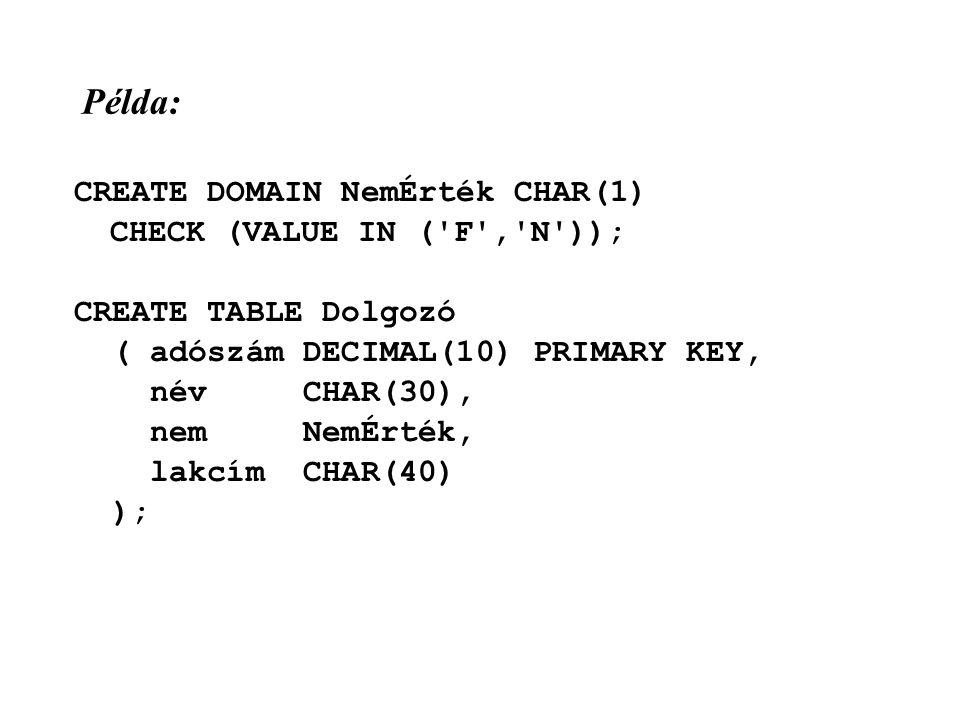 Példa: CREATE DOMAIN NemÉrték CHAR(1) CHECK (VALUE IN ( F , N )); CREATE TABLE Dolgozó ( adószám DECIMAL(10) PRIMARY KEY, név CHAR(30), nem NemÉrték, lakcím CHAR(40) );