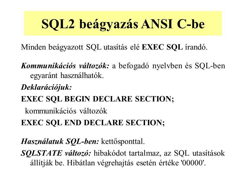 Minden beágyazott SQL utasítás elé EXEC SQL írandó.