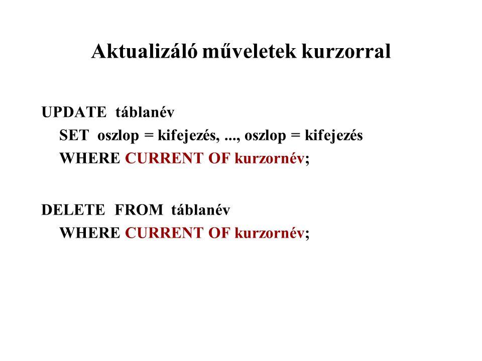 Aktualizáló műveletek kurzorral UPDATE táblanév SET oszlop = kifejezés,..., oszlop = kifejezés WHERE CURRENT OF kurzornév; DELETE FROM táblanév WHERE CURRENT OF kurzornév;
