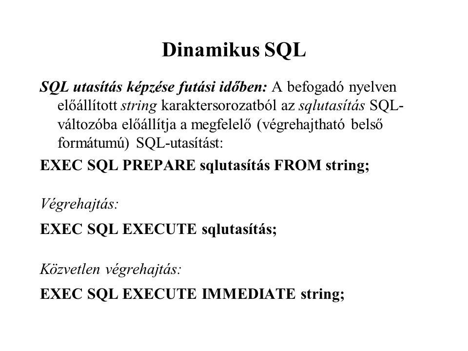 Dinamikus SQL SQL utasítás képzése futási időben: A befogadó nyelven előállított string karaktersorozatból az sqlutasítás SQL- változóba előállítja a megfelelő (végrehajtható belső formátumú) SQL-utasítást: EXEC SQL PREPARE sqlutasítás FROM string; Végrehajtás: EXEC SQL EXECUTE sqlutasítás; Közvetlen végrehajtás: EXEC SQL EXECUTE IMMEDIATE string;