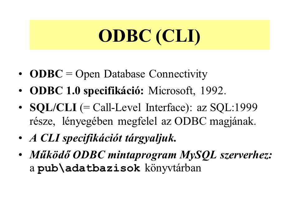 ODBC = Open Database Connectivity ODBC 1.0 specifikáció: Microsoft, 1992.