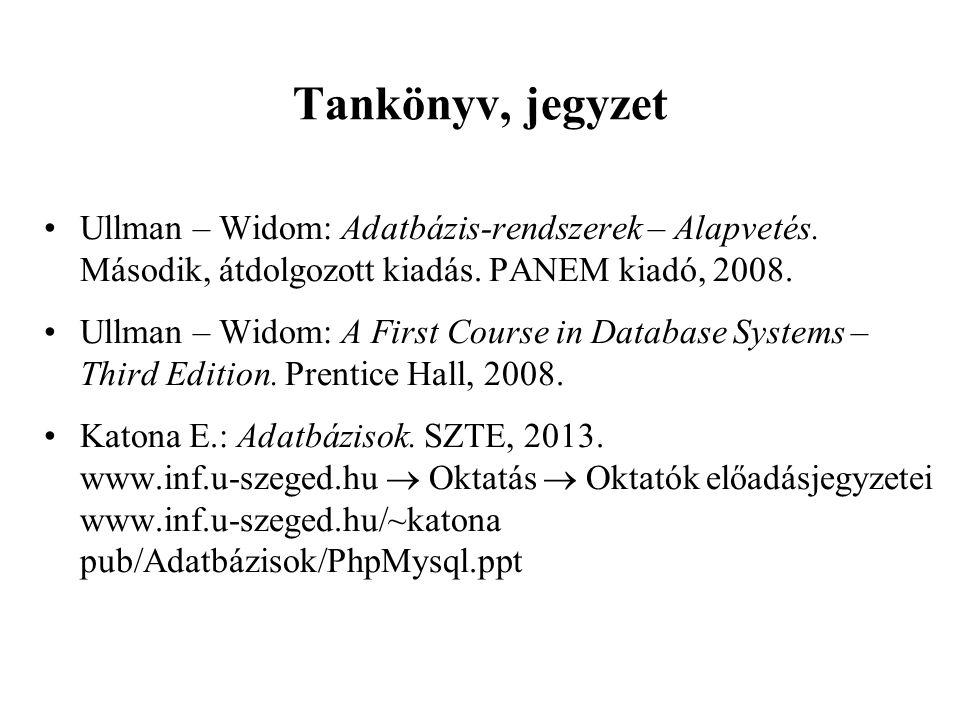 Tankönyv, jegyzet Ullman – Widom: Adatbázis-rendszerek – Alapvetés.