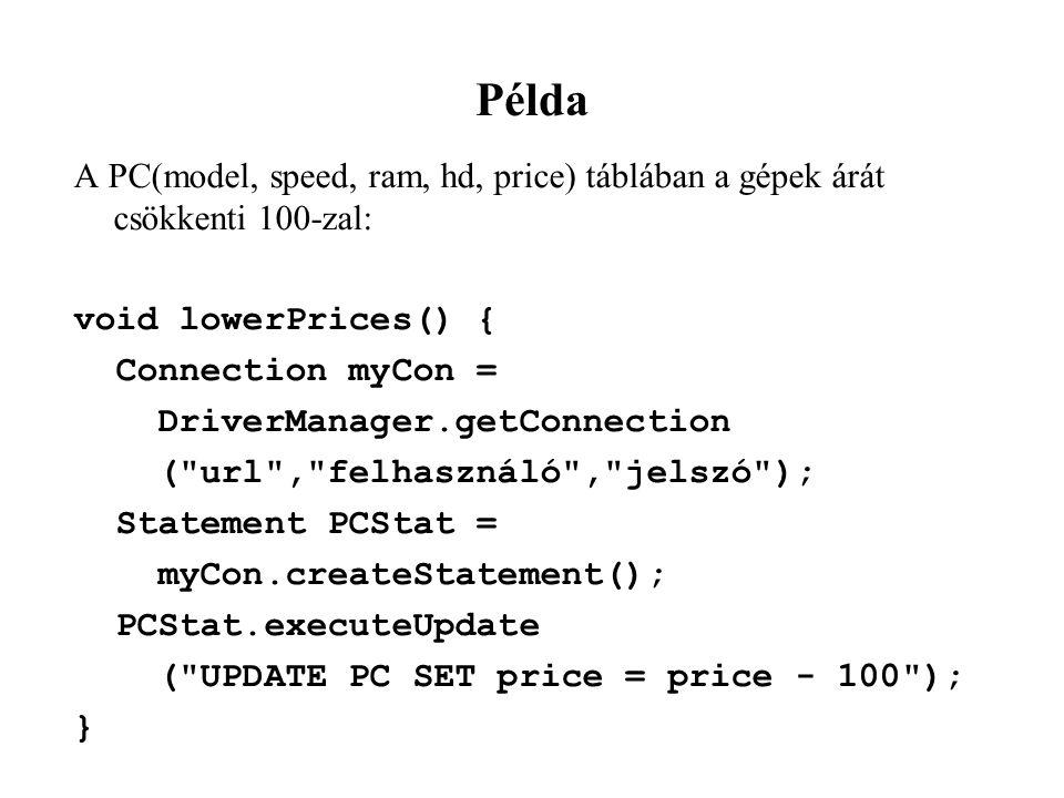 Példa A PC(model, speed, ram, hd, price) táblában a gépek árát csökkenti 100-zal: void lowerPrices() { Connection myCon = DriverManager.getConnection ( url , felhasználó , jelszó ); Statement PCStat = myCon.createStatement(); PCStat.executeUpdate ( UPDATE PC SET price = price - 100 ); }