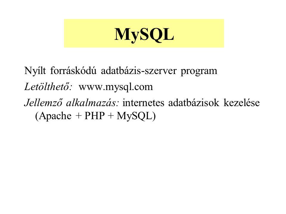 Nyílt forráskódú adatbázis-szerver program Letölthető: www.mysql.com Jellemző alkalmazás: internetes adatbázisok kezelése (Apache + PHP + MySQL) MySQL