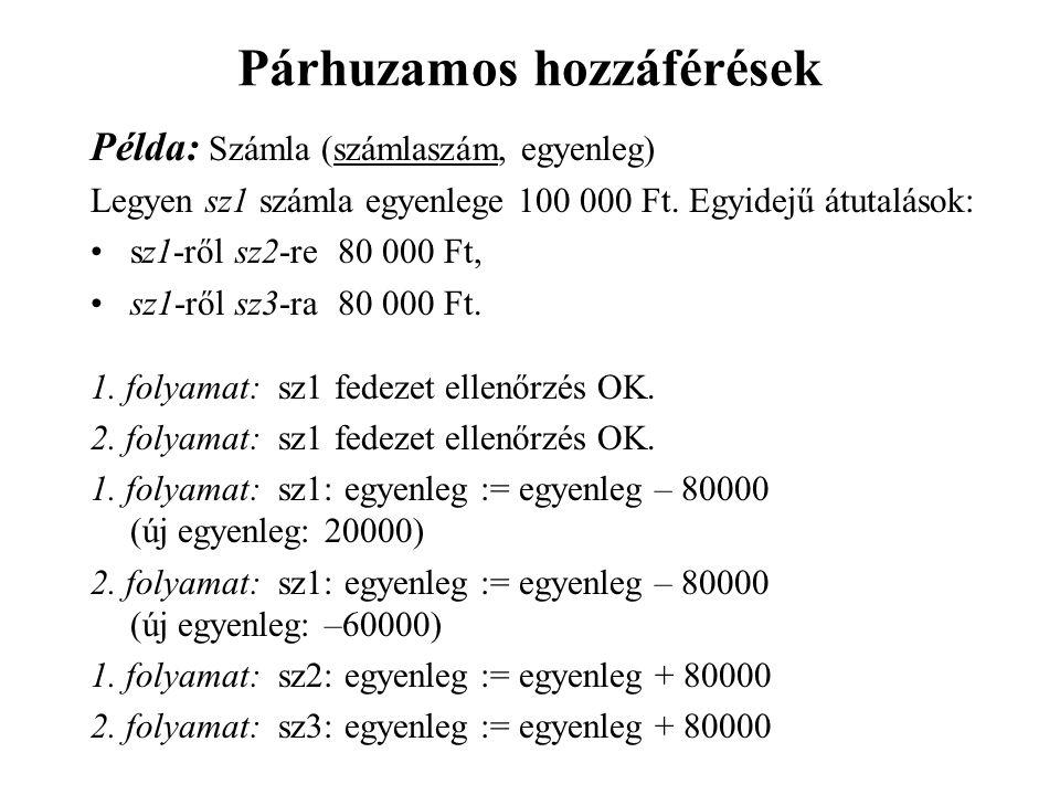 Párhuzamos hozzáférések Példa: Számla (számlaszám, egyenleg) Legyen sz1 számla egyenlege 100 000 Ft.