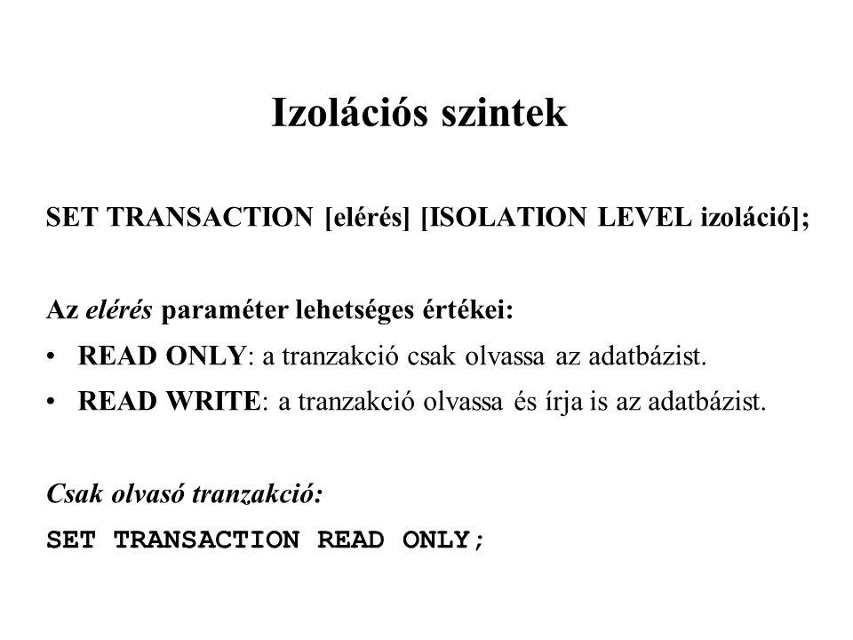 Izolációs szintek SET TRANSACTION [elérés] [ISOLATION LEVEL izoláció]; Az elérés paraméter lehetséges értékei: READ ONLY: a tranzakció csak olvassa az adatbázist.