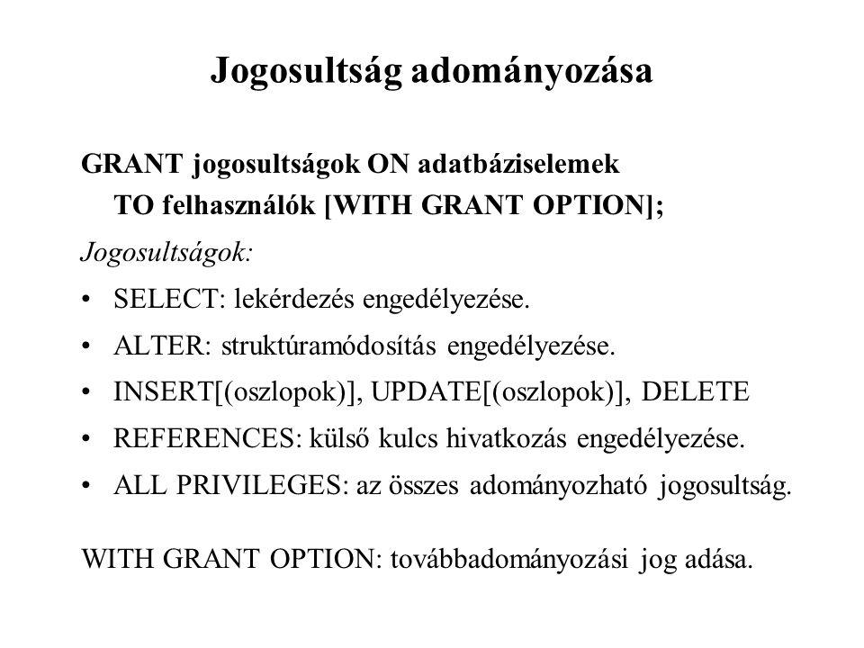 Jogosultság adományozása GRANT jogosultságok ON adatbáziselemek TO felhasználók [WITH GRANT OPTION]; Jogosultságok: SELECT: lekérdezés engedélyezése.