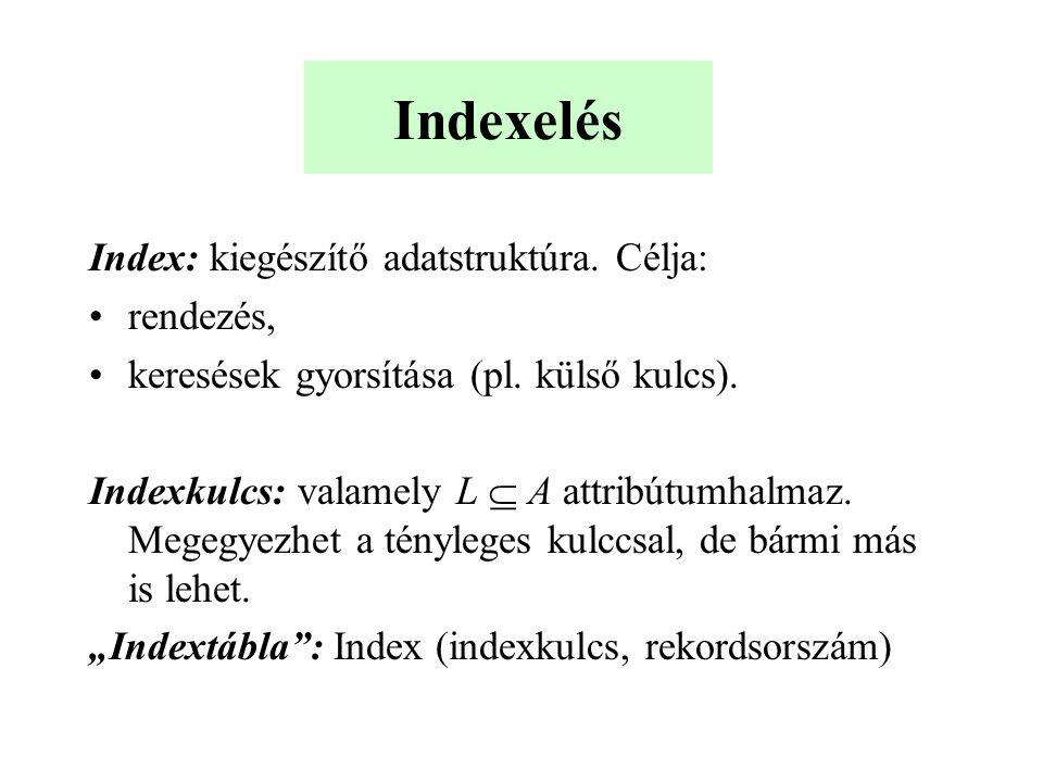 Indexelés Index: kiegészítő adatstruktúra.Célja: rendezés, keresések gyorsítása (pl.