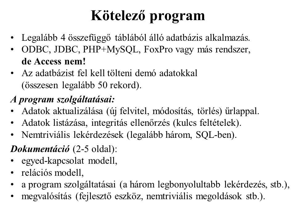 Adatbázisok alapfogalmai Történet: Kezdetben: output-orientált szemlélet Később: adat-orientált szemlélet  adatbázisok Adattárolás strukturáltsági szintjei: digitális kép, hang, videó: strukturálatlan Egyszerű szövegfájl (txt): keresés Formázott szöveg (doc): hierarchiaszintek Hypertext (html, xml): hivatkozások Táblázat (Excel): rendezés, lekérdezések Relációs adatbázis: adatmodell, bonyolult kapcsolatrendszer, nagy adatmennyiség, sok felhasználó, adatbiztonság