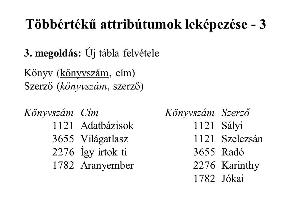 Többértékű attribútumok leképezése - 3 3.