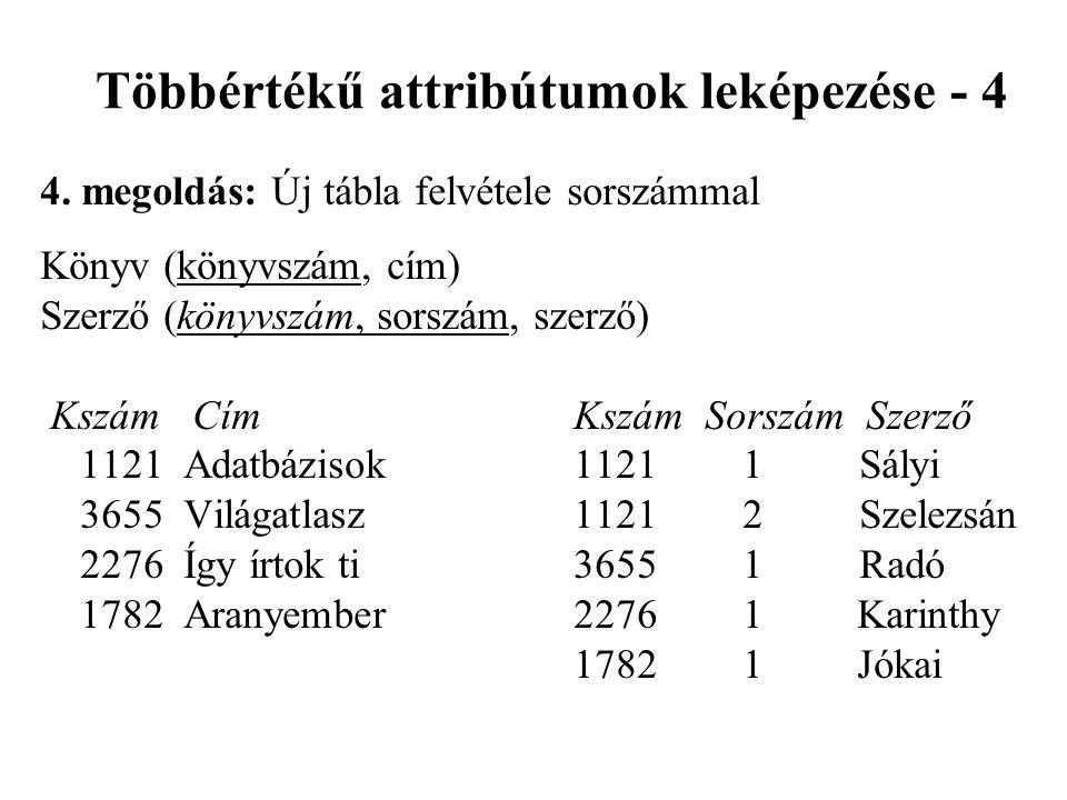 Többértékű attribútumok leképezése - 4 4.