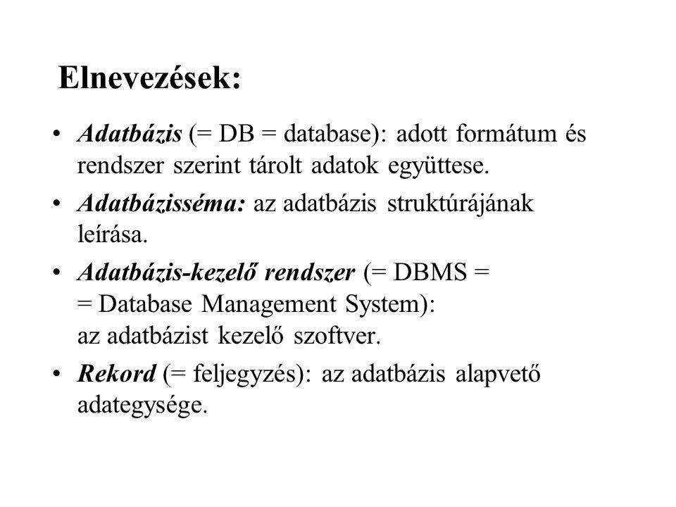 Elnevezések: Adatbázis (= DB = database): adott formátum és rendszer szerint tárolt adatok együttese.