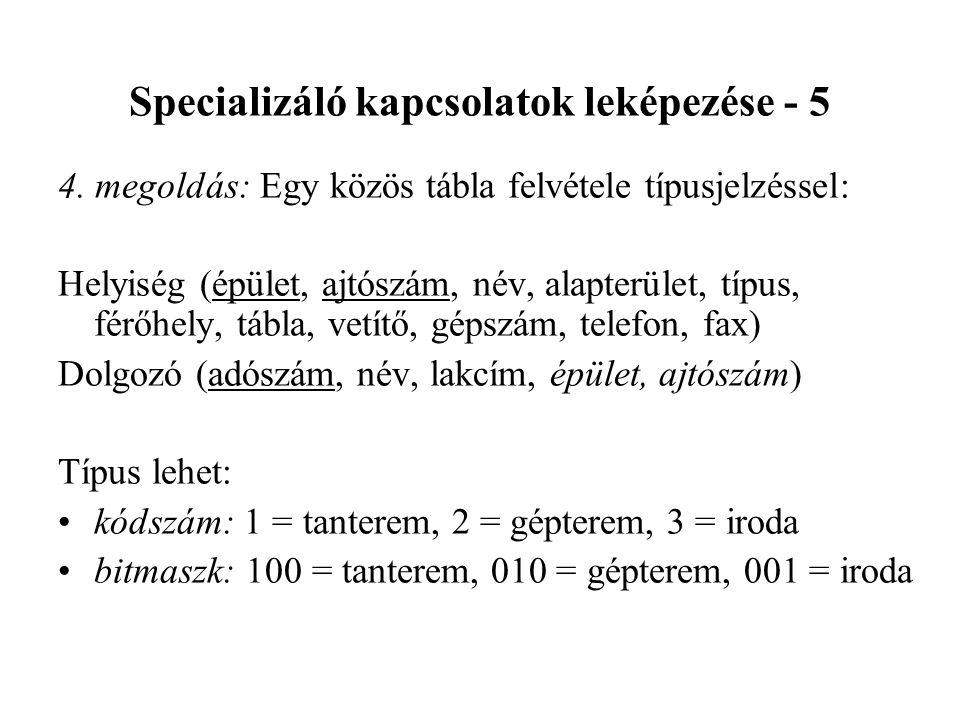 Specializáló kapcsolatok leképezése - 5 4.