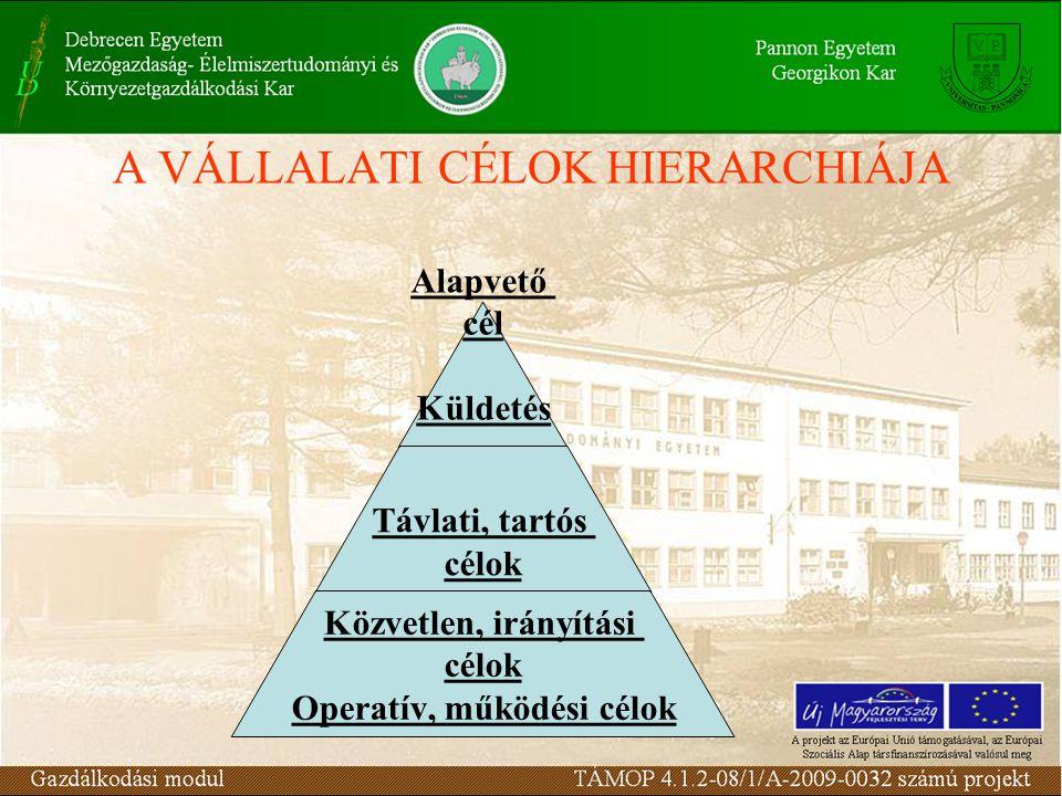 A VÁLLALATI CÉLOK HIERARCHIÁJA Alapvető cél Küldetés Távlati, tartós célok Közvetlen, irányítási célok Operatív, működési célok