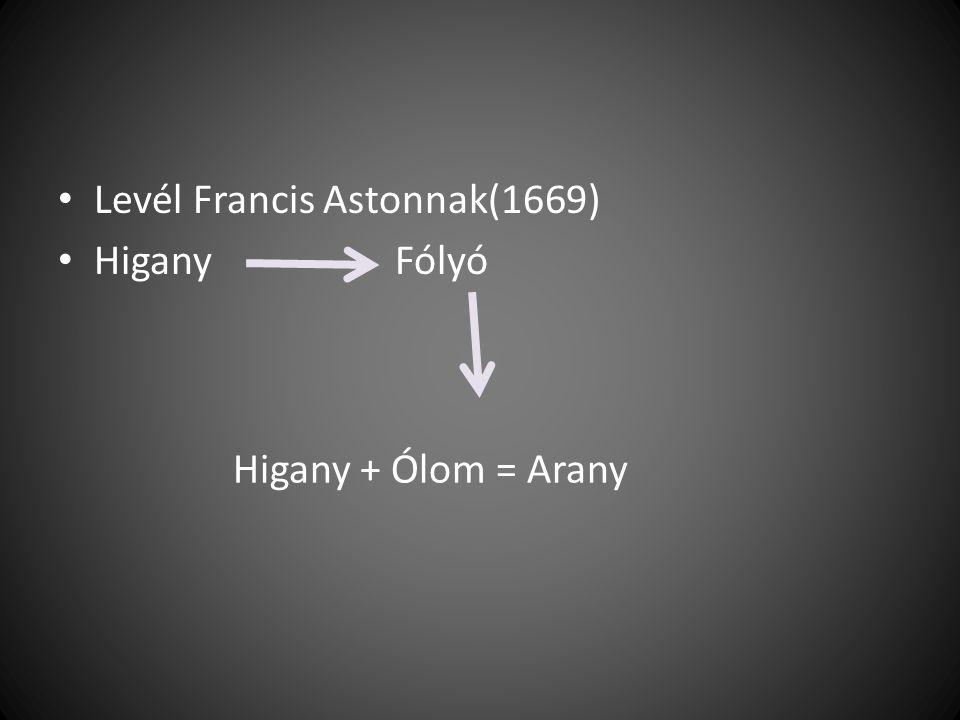 Levél Francis Astonnak(1669) Higany Fólyó Higany + Ólom = Arany