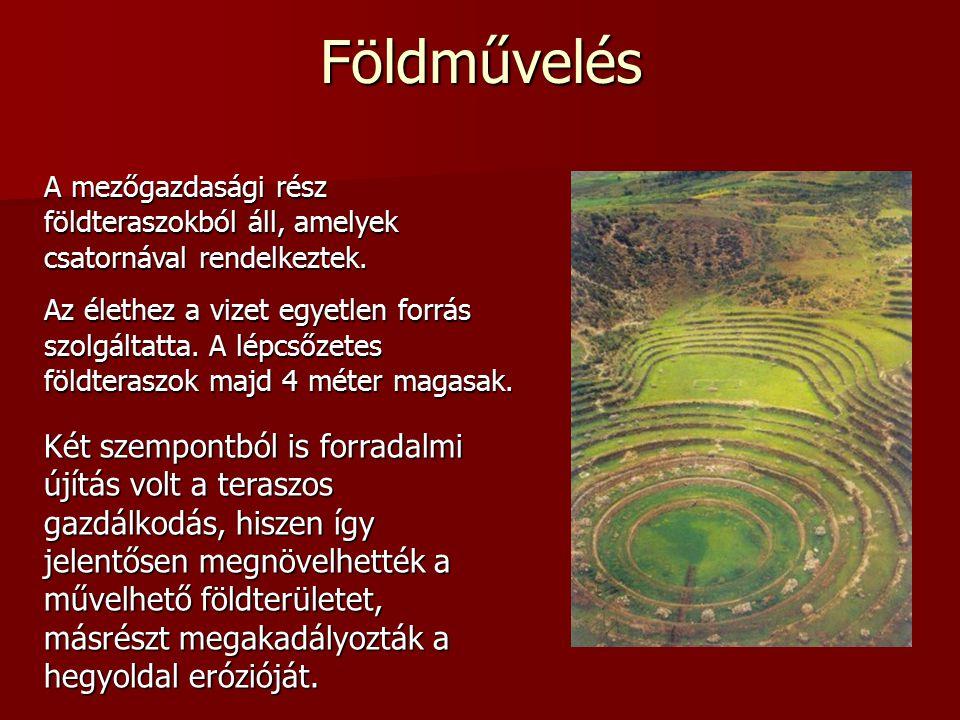 A mezőgazdasági rész földteraszokból áll, amelyek csatornával rendelkeztek.