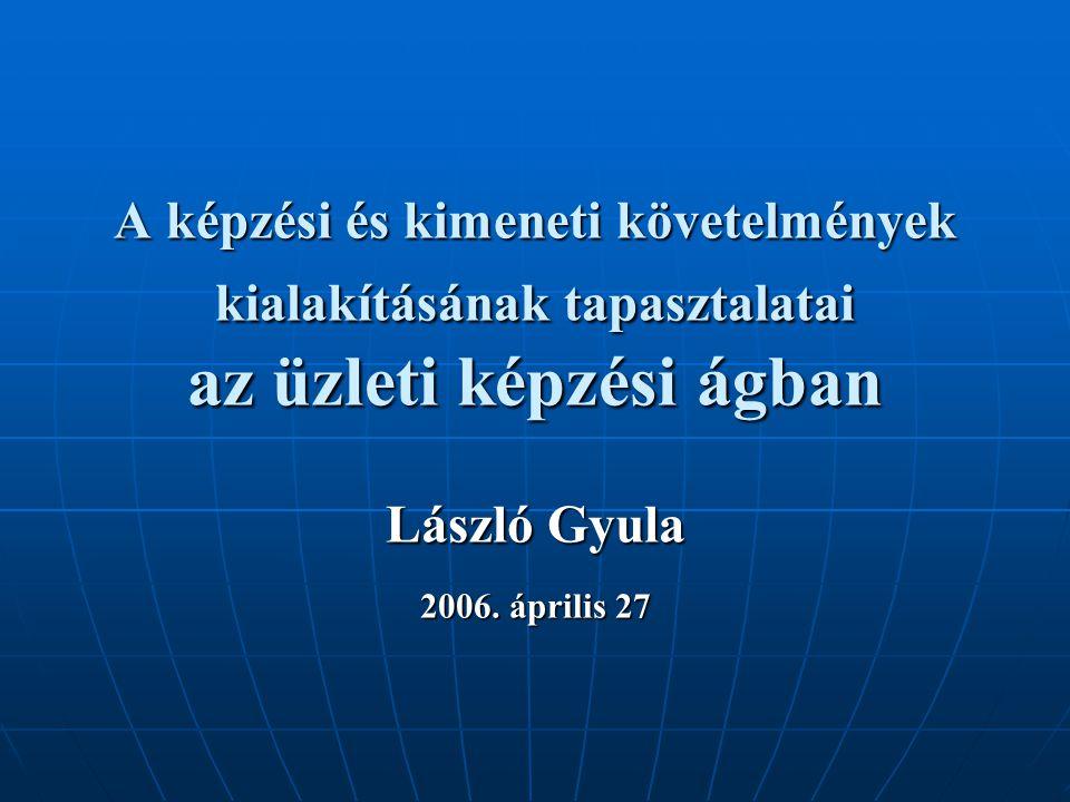 A képzési és kimeneti követelmények kialakításának tapasztalatai az üzleti képzési ágban László Gyula 2006.