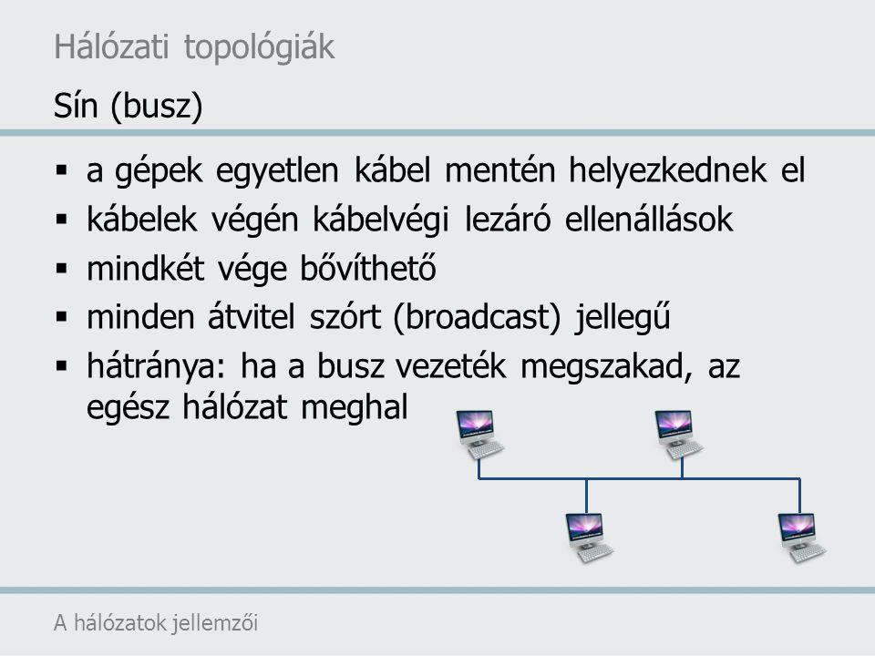 Hálózati topológiák A hálózatok jellemzői  a gépek egyetlen kábel mentén helyezkednek el  kábelek végén kábelvégi lezáró ellenállások  mindkét vége