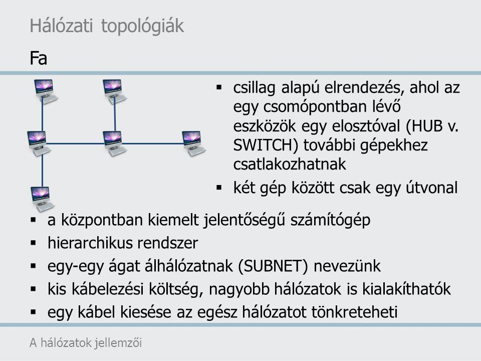 Hálózati topológiák A hálózatok jellemzői  a központban kiemelt jelentőségű számítógép  hierarchikus rendszer  egy-egy ágat álhálózatnak (SUBNET) n