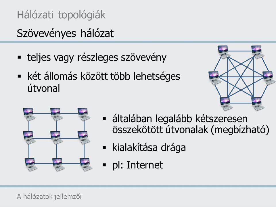 Hálózati topológiák A hálózatok jellemzői  teljes vagy részleges szövevény  két állomás között több lehetséges útvonal Szövevényes hálózat  általáb