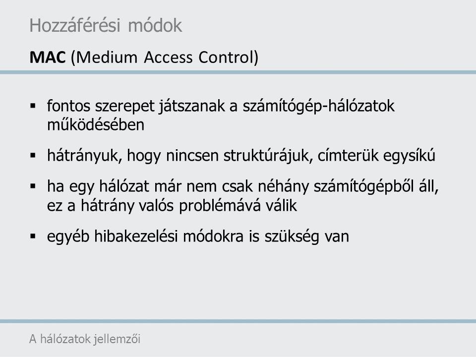 Hozzáférési módok A hálózatok jellemzői MAC (Medium Access Control)  fontos szerepet játszanak a számítógép-hálózatok működésében  hátrányuk, hogy n