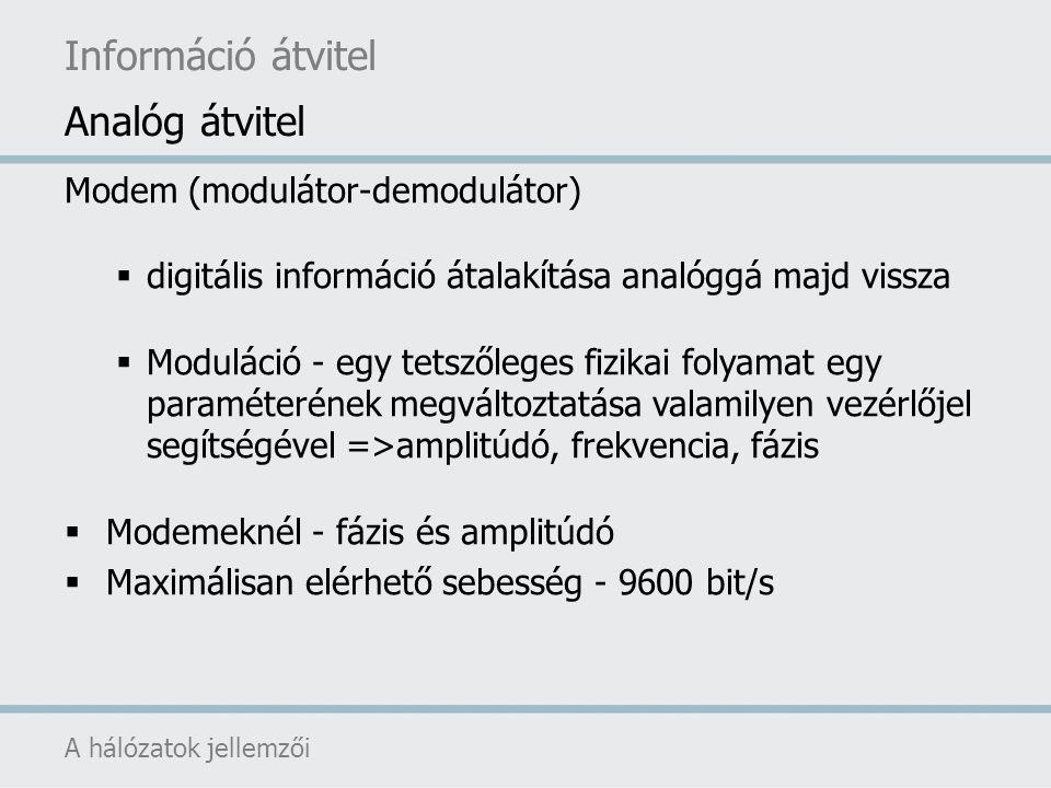 ISDN (Integrated Services Digital Network - integrált szolgáltatású digitális hálózat)  digitális bitcső (digital bit pipe)  több független csatornára történő felosztás  keskenysávú ISDN (16 kbit/sec – D csatorna)  szélessávú ISDN (64 kbit/sec – B csatorna)  szolgáltatók részéről többféle ISDN kapcsolat (pl.