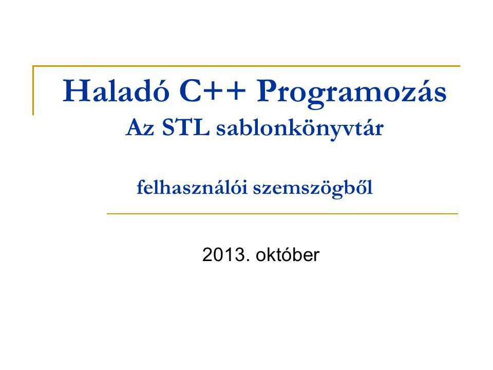 Haladó C++ Programozás Az STL sablonkönyvtár felhasználói szemszögből 2013. október