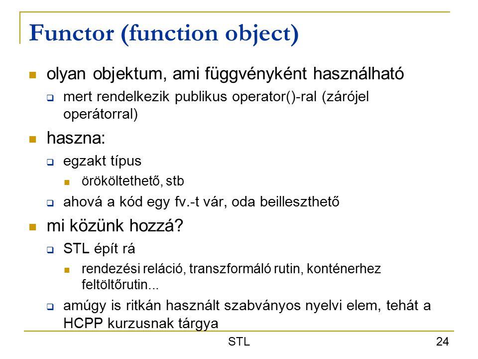 STL 24 Functor (function object) olyan objektum, ami függvényként használható  mert rendelkezik publikus operator()-ral (zárójel operátorral) haszna:  egzakt típus örököltethető, stb  ahová a kód egy fv.-t vár, oda beilleszthető mi közünk hozzá.