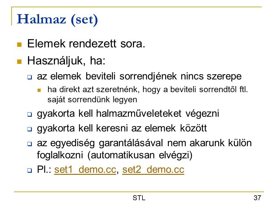 STL 37 Halmaz (set) Elemek rendezett sora.