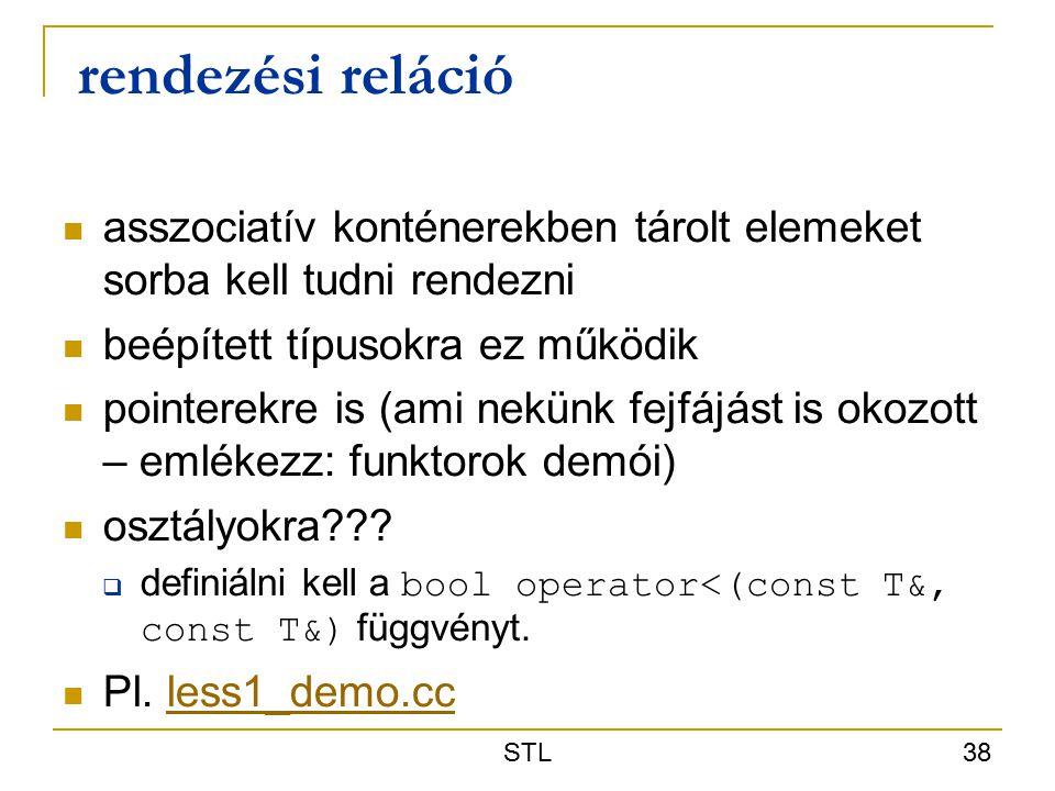 STL 38 rendezési reláció asszociatív konténerekben tárolt elemeket sorba kell tudni rendezni beépített típusokra ez működik pointerekre is (ami nekünk fejfájást is okozott – emlékezz: funktorok demói) osztályokra??.