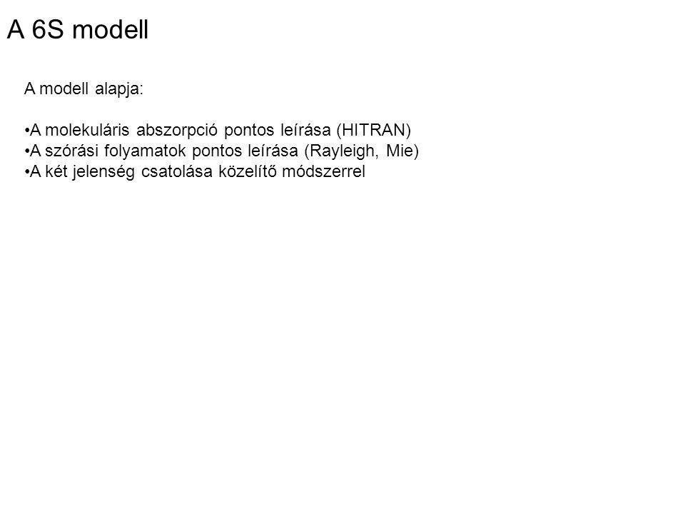 A 6S modell A modell alapja: A molekuláris abszorpció pontos leírása (HITRAN) A szórási folyamatok pontos leírása (Rayleigh, Mie) A két jelenség csatolása közelítő módszerrel