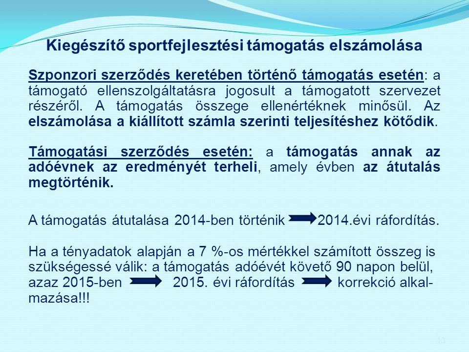 Kiegészítő sportfejlesztési támogatás elszámolása Szponzori szerződés keretében történő támogatás esetén: a támogató ellenszolgáltatásra jogosult a tá