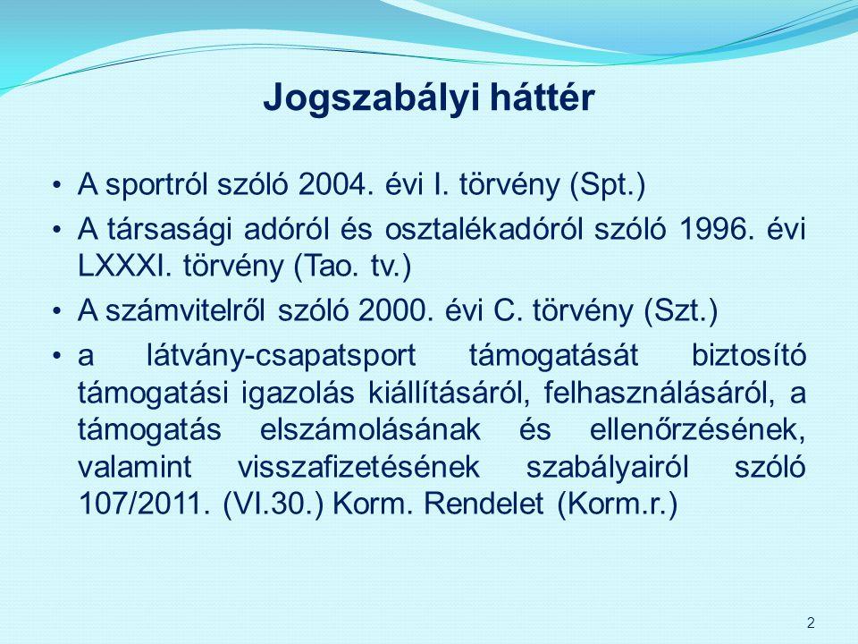 Jogszabályi háttér A sportról szóló 2004. évi I. törvény (Spt.) A társasági adóról és osztalékadóról szóló 1996. évi LXXXI. törvény (Tao. tv.) A számv