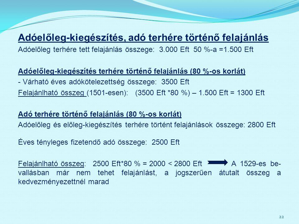 Adóelőleg-kiegészítés, adó terhére történő felajánlás Adóelőleg terhére tett felajánlás összege: 3.000 Eft 50 %-a =1.500 Eft Adóelőleg-kiegészítés ter