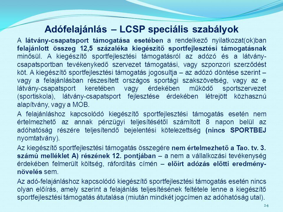 Adófelajánlás – LCSP speciális szabályok A látvány-csapatsport támogatása esetében a rendelkező nyilatkozat(ok)ban felajánlott összeg 12,5 százaléka k