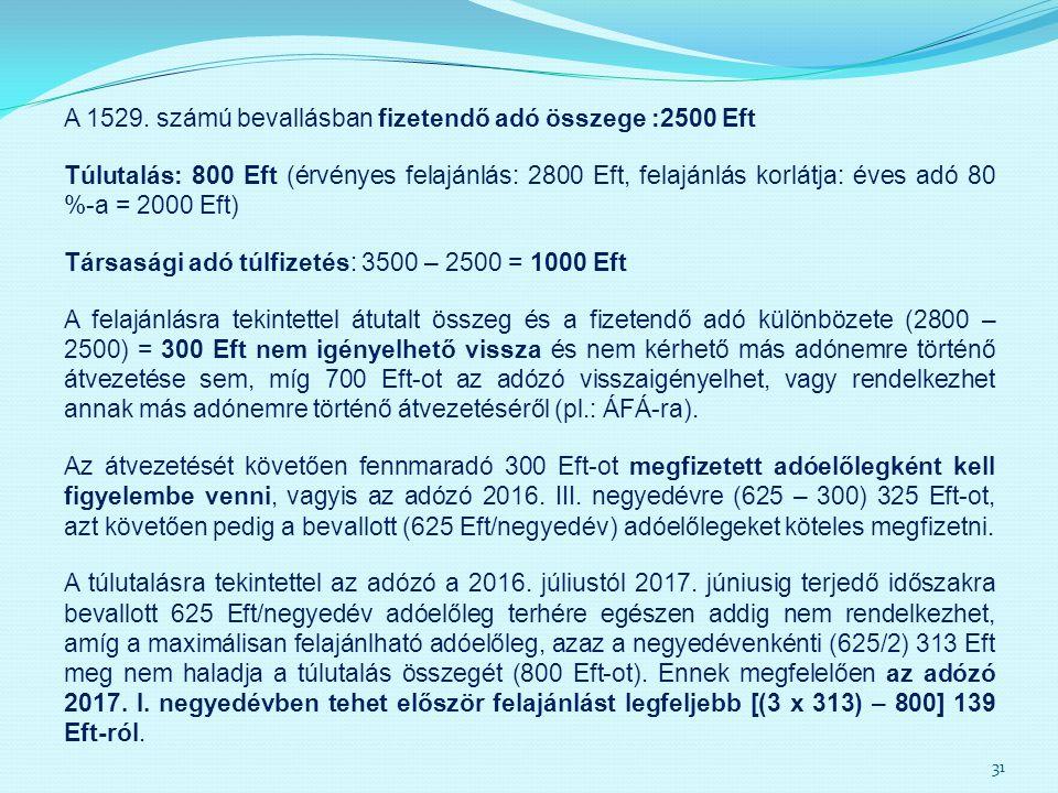 A 1529. számú bevallásban fizetendő adó összege :2500 Eft Túlutalás: 800 Eft (érvényes felajánlás: 2800 Eft, felajánlás korlátja: éves adó 80 %-a = 20