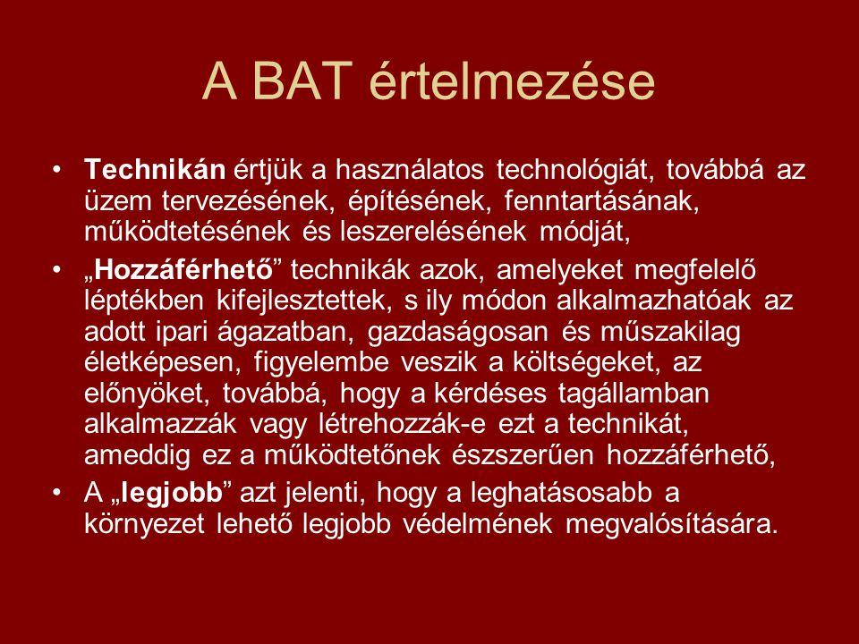 A BAT alkalmazása Az környezetvédelmi engedély köteles létesítményeknek meg kell felelniük többek között az elérhető legjobb technikákra (BAT) vonatkozó előírásoknak is.