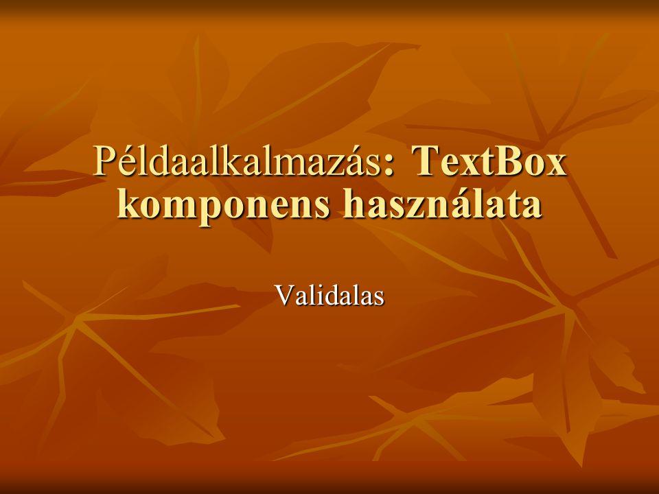 Példaalkalmazás: TextBox komponens használata Validalas