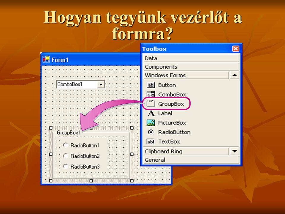 Előre definiált párbeszédablakok Visual Studio.NET-ben PrintPreviewDialogPrintPreviewDialog Úgy jeleníti meg a dokumentumot, ahogyan az a nyomtatás eredményeképpen látható lesz PageSetupDialog Oldalbeállítás nyomtatáshoz PrintDialog Nyomtató kiválasztása és nyomtatással kapcsolatos beállítások FontDialog A rendszerben telepített fontok megtekintése és betűtípus beállítás ColorDialog Színválasztás palettáról és újabb színek hozzáadása a palettához SaveFileDialogSaveFileDialog Állomány mentésekor hely és név megadása OpenFileDialogOpenFileDialog Állomány megnyitásakor hely és név megadása