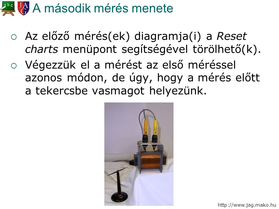 http://www.jag.mako.hu A második mérés menete  Az előző mérés(ek) diagramja(i) a Reset charts menüpont segítségével törölhető(k).  Végezzük el a mér