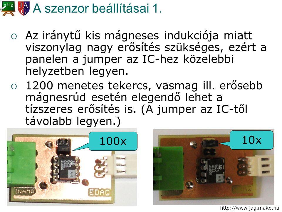 http://www.jag.mako.hu A szenzor beállításai 1.  Az iránytű kis mágneses indukciója miatt viszonylag nagy erősítés szükséges, ezért a panelen a jumpe
