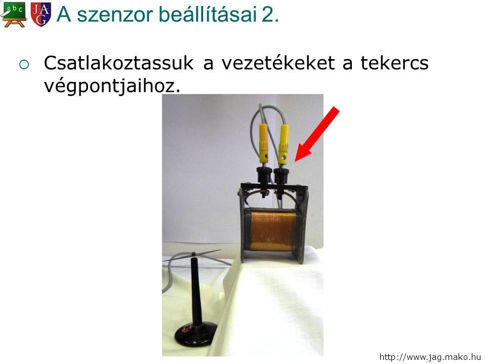 http://www.jag.mako.hu A szenzor beállításai 2.  Csatlakoztassuk a vezetékeket a tekercs végpontjaihoz.