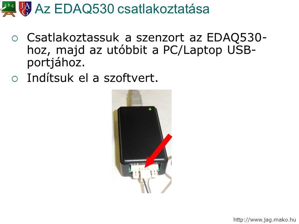 http://www.jag.mako.hu Az EDAQ530 csatlakoztatása  Csatlakoztassuk a szenzort az EDAQ530- hoz, majd az utóbbit a PC/Laptop USB- portjához.  Indítsuk