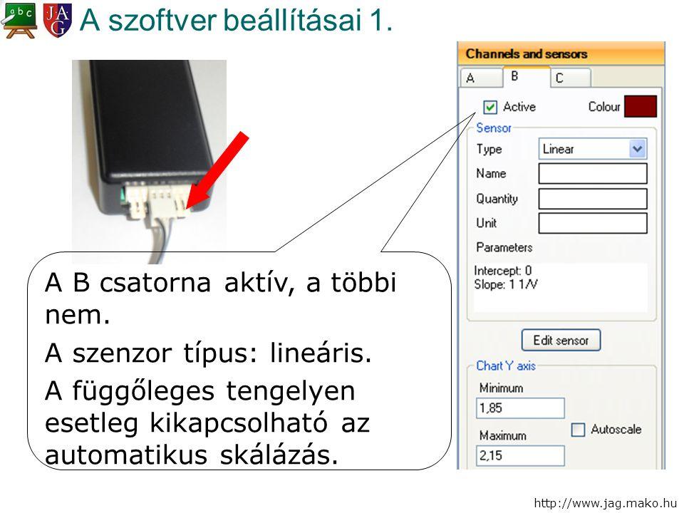 http://www.jag.mako.hu A szoftver beállításai 1. A B csatorna aktív, a többi nem. A szenzor típus: lineáris. A függőleges tengelyen esetleg kikapcsolh