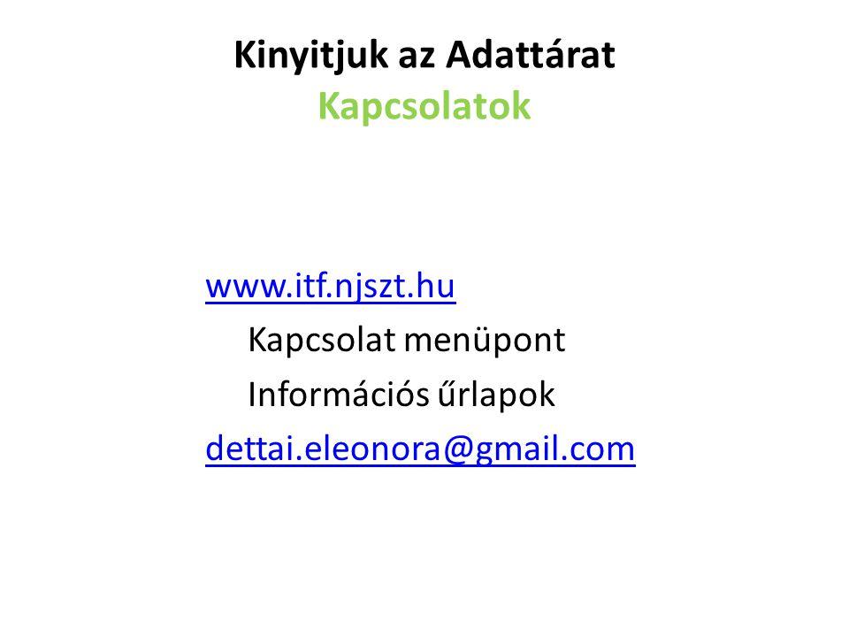 Kinyitjuk az Adattárat Kapcsolatok www.itf.njszt.hu Kapcsolat menüpont Információs űrlapok dettai.eleonora@gmail.com