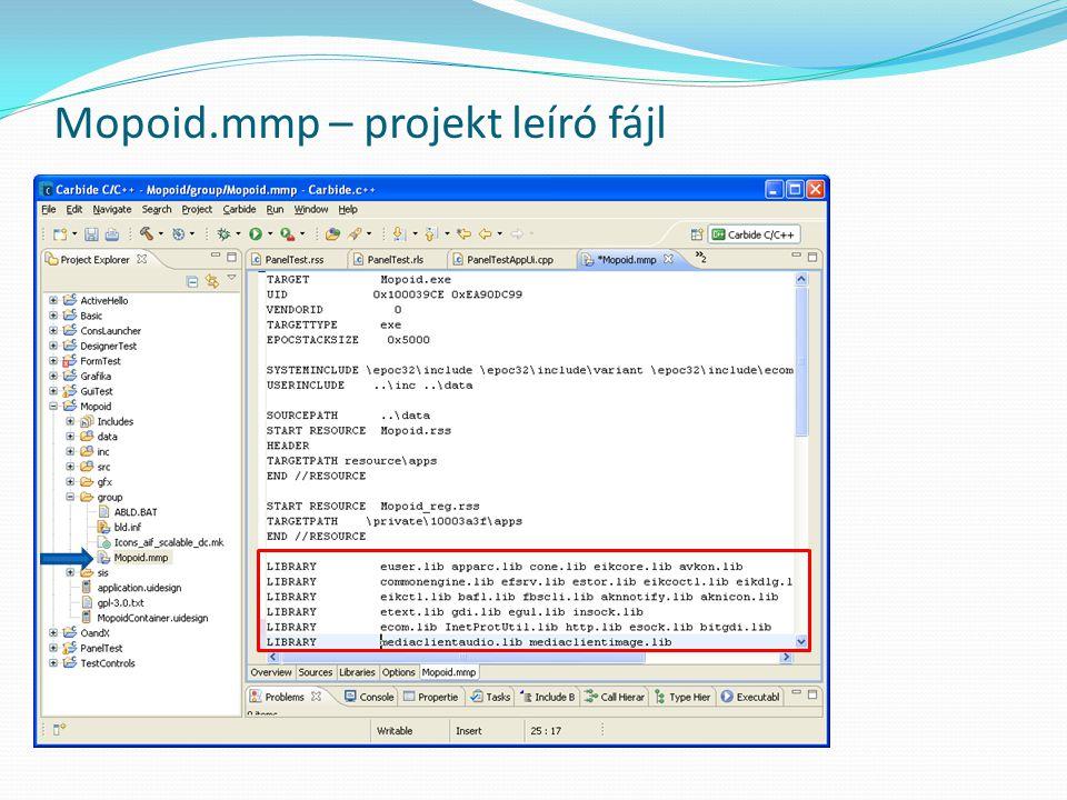 Mopoid.mmp – projekt leíró fájl