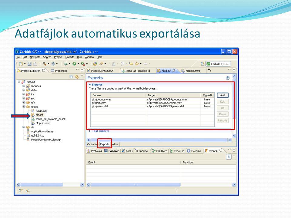 Adatfájlok automatikus exportálása