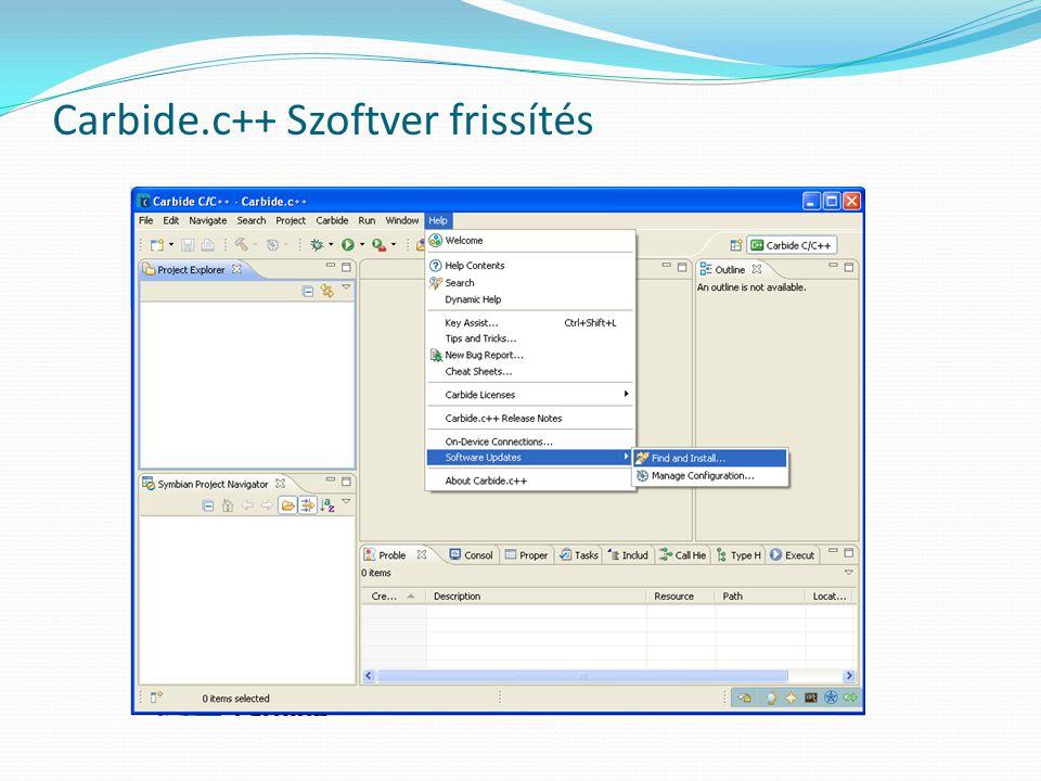 Carbide.c++ Szoftver frissítés