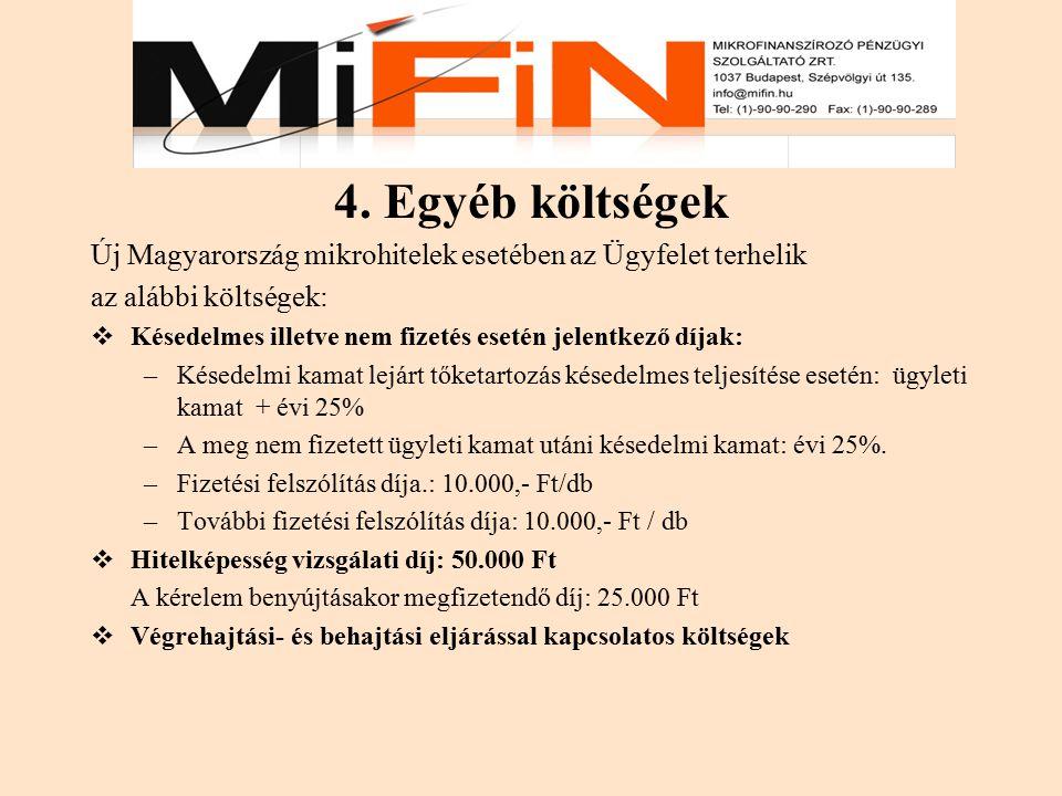 4. Egyéb költségek Új Magyarország mikrohitelek esetében az Ügyfelet terhelik az alábbi költségek:  Késedelmes illetve nem fizetés esetén jelentkező